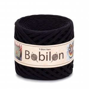 Bobilon CZARNY  BLACK PASSION MEDIUM 7-9MM premium thirt yarn przędza 100% bawe
